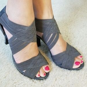 Madden Girl grey lattice heels